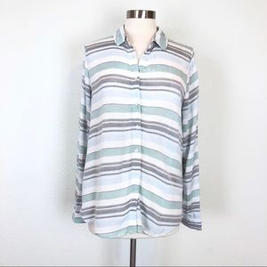 Romeo+Juliet Long Sleeve Striped Button Up Blouse